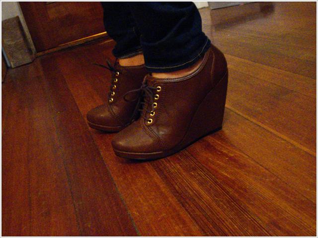 Brown Lace-up Wedge Heels