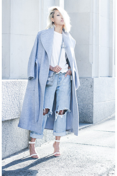 Light Blue Theyskens Theory Coat Light Blue Thpshop Jeans